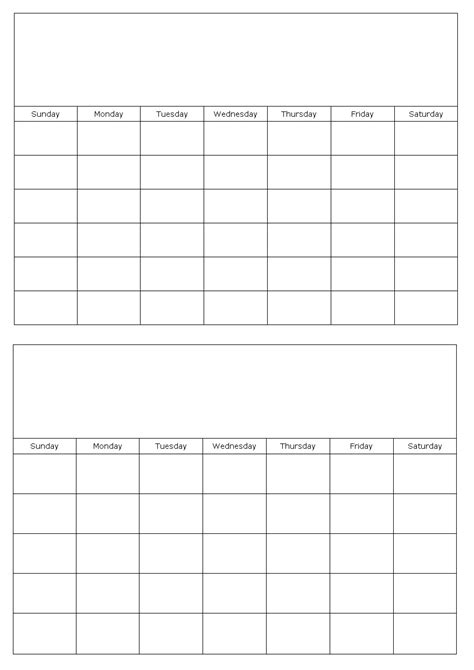 Blank Calendar Template Two Months On A Page Blank Calendar Template