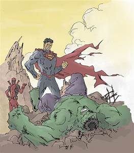 Superman vs Hulk drawing (colored) by electronicdave on ...