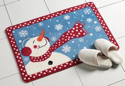 Frosty Winter Snowman Bath Rug from Collections Etc.