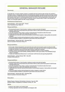 Production Manager Resume Sample Sample General Manager Resume