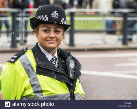 Smiling Police Woman On Duty Stock Photo Royalty Free Image Alamy