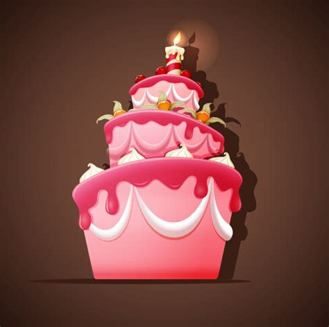 cute birthday cakes  vector background