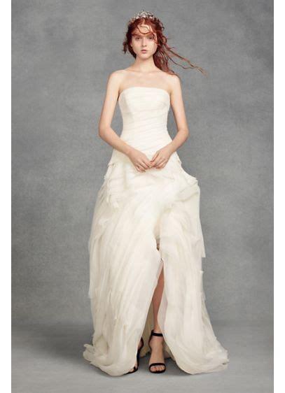 white  vera wang organza high  wedding dress david