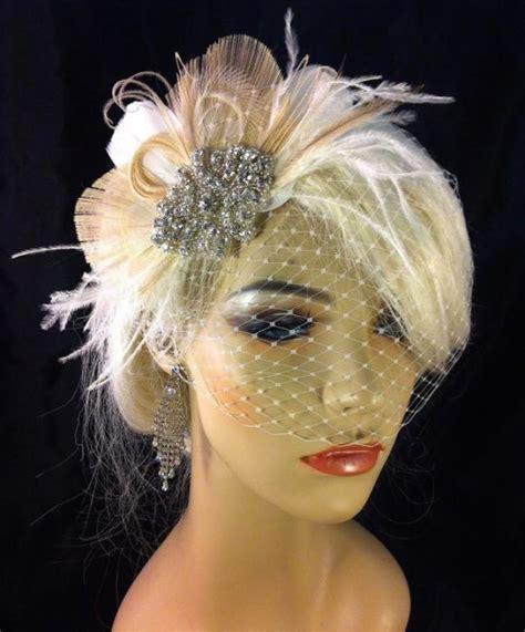 bridal feather fascinator with brooch bridal fascinator