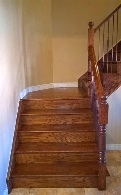 stairs cappingrefacing special walnut stain  red oak
