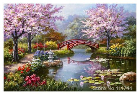 japanese garden  bloom seascape paintings modern art