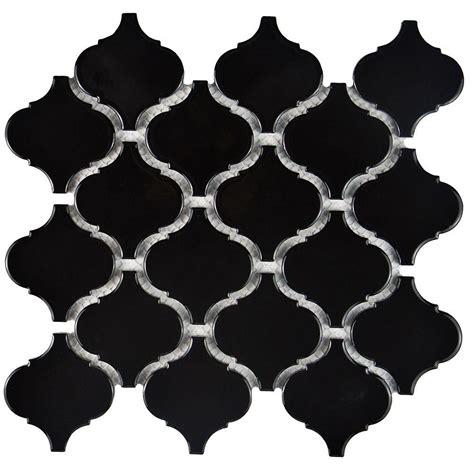 lantern tile merola tile metro lantern glossy black 9 3 4 in x 10 1 4 in x 6 mm porcelain mosaic tile