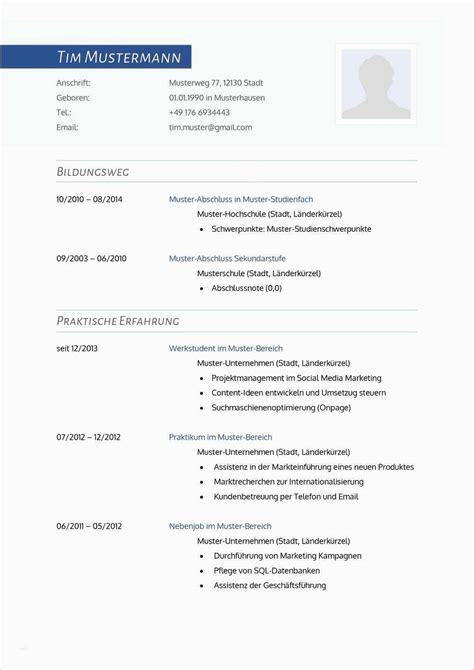 Muster Für Lebenslauf by 17 Lebenslauf Vorlage F 252 R Sch 252 Lerpraktikum Emovoid
