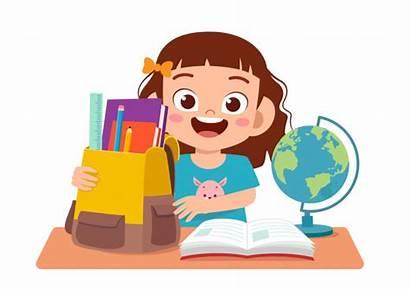 Study Cartoon Happy Estudiando Studying Chica Premium