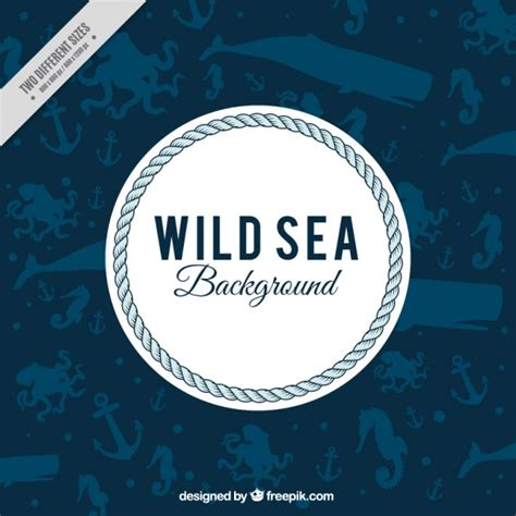 Nautical Background Nautical Background With Marine Animals Vector Free