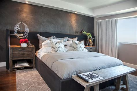 contemporary bedroom  textured gray accent wall hgtv