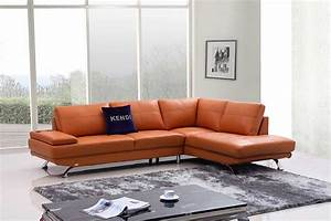 Modern orange leather sofa vg496 leather sofas for Contemporary orange sectional sofa