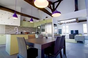 amenagement appartement sous combles baigne de lumiere paris With amenagement cuisine ouverte