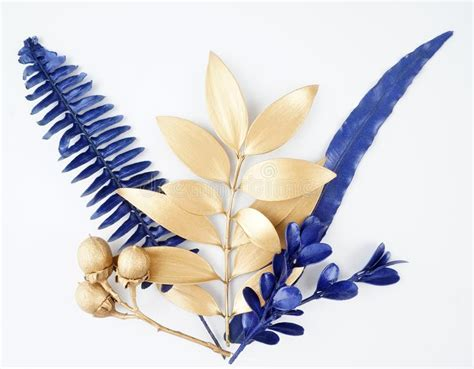 blue  gold leaf design elements stock image image