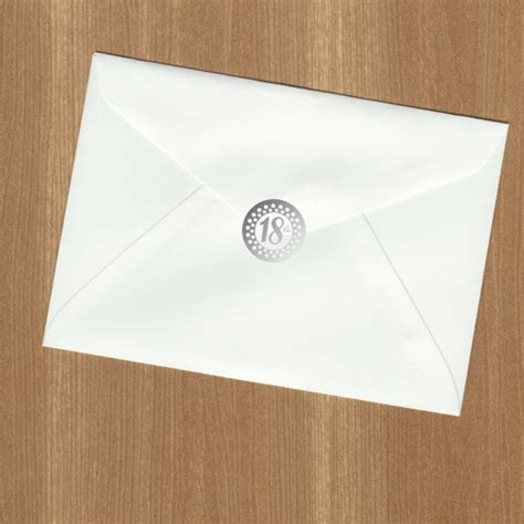 18th Birthday Silver Envelope Seal (pack of 36) Shop