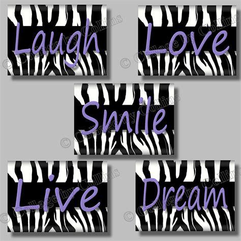 purple zebra print quote smile dream live love laugh art girl
