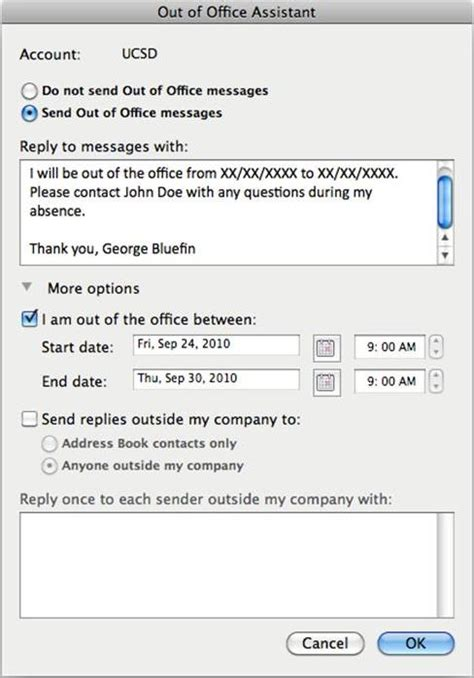 outlook message absence bureau setting up out of office messages in outlook 2011