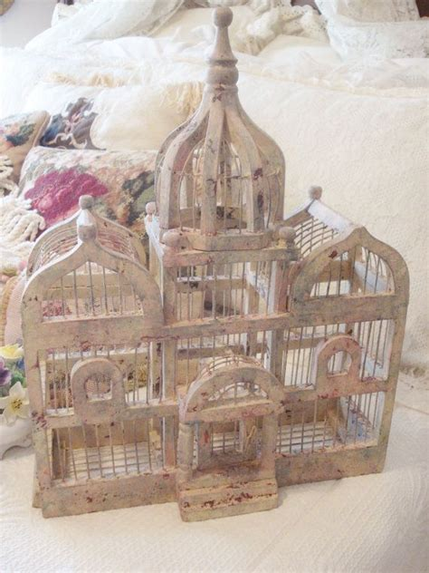 large vintage bird cage wood wire victorian triple