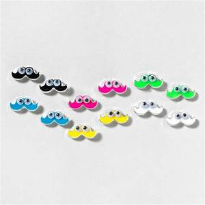 Googly Eyed Mustache Stud Earrings Set of 6 | Claire's ...