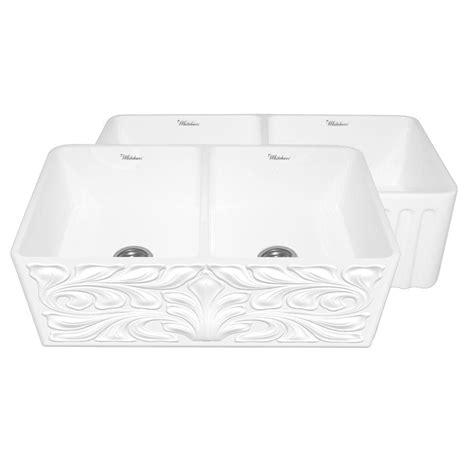 white apron front sink whitehaus collection gothichaus reversible farmhaus series