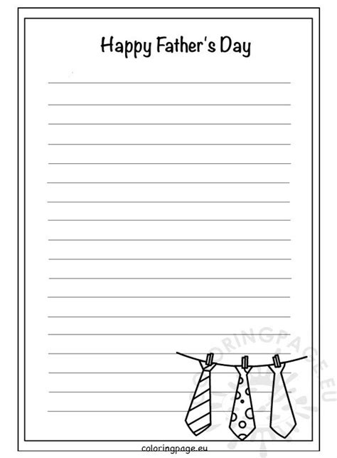 fathers day writing paper template coloring page