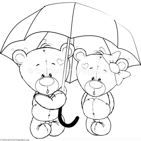 cartoon animal romantic bears couple  love holding  umbrella coloring pages