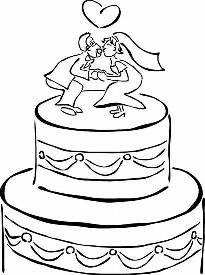Coloring Cake Pages Chocolate Bride Groom Dolls