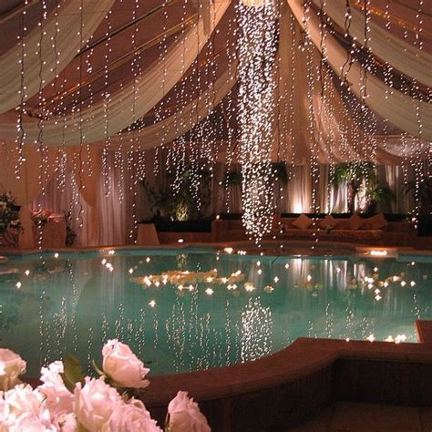 hanging lights around pool set backyard swimming pool landscaping ideas of design