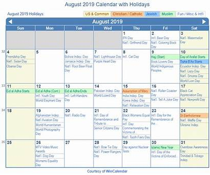 Calendar August Holidays Printable Holiday Wincalendar Muslim