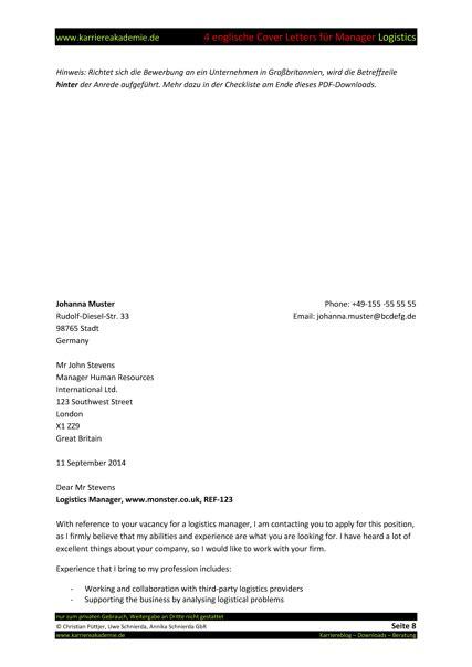 cover letter englische anschreiben fuehrungskraft