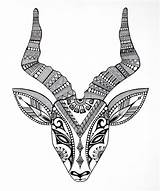 Coloring Horns Animal Animals Colour Behance Masks sketch template