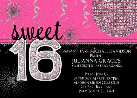 sweet  birthday invitation hot pink custom  printable