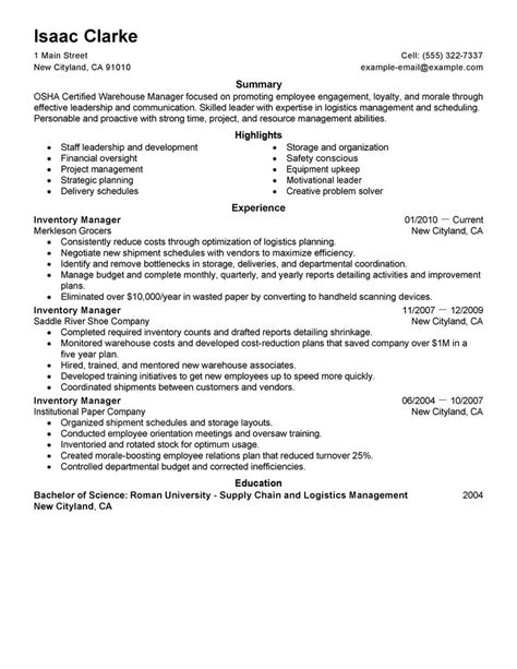 best inventory manager resume exle livecareer