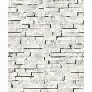 Papier Peint Brique Gris : papier peint blanc gris j27309 effet ardoise brique ~ Dailycaller-alerts.com Idées de Décoration