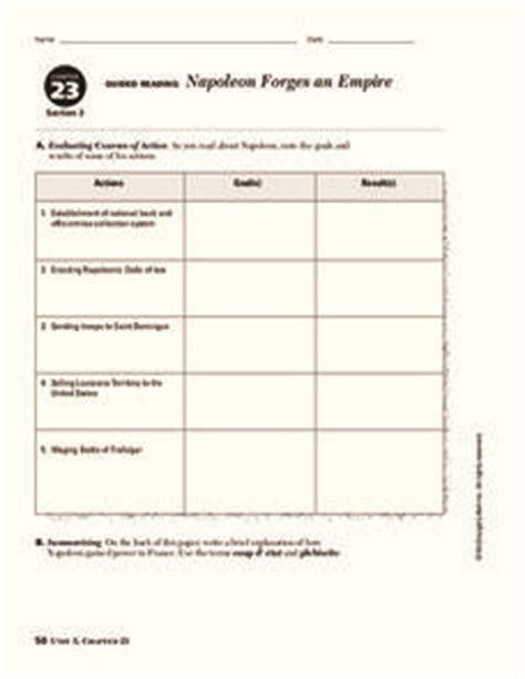napoleon forges an empire worksheet for 9th 10th grade