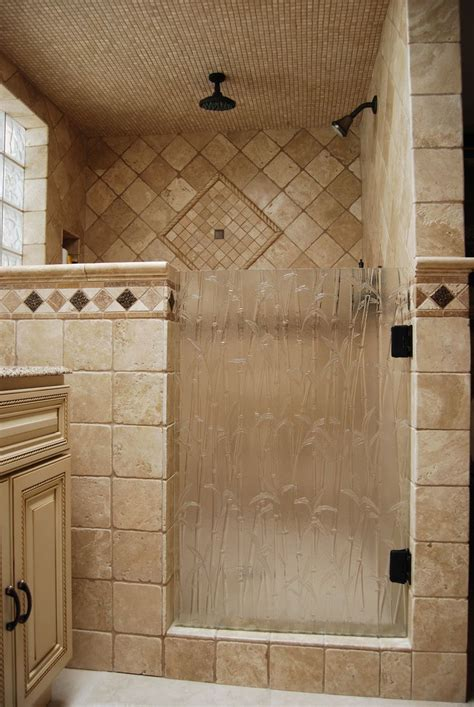 shower door   bamboo textured glass master