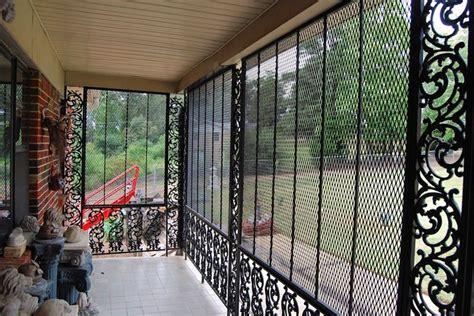 decorative wrought iron porch enclosure  security