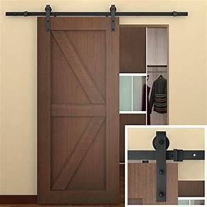 smartstandard 66 ft sliding barn door hardware black With barn door hardware and door combo