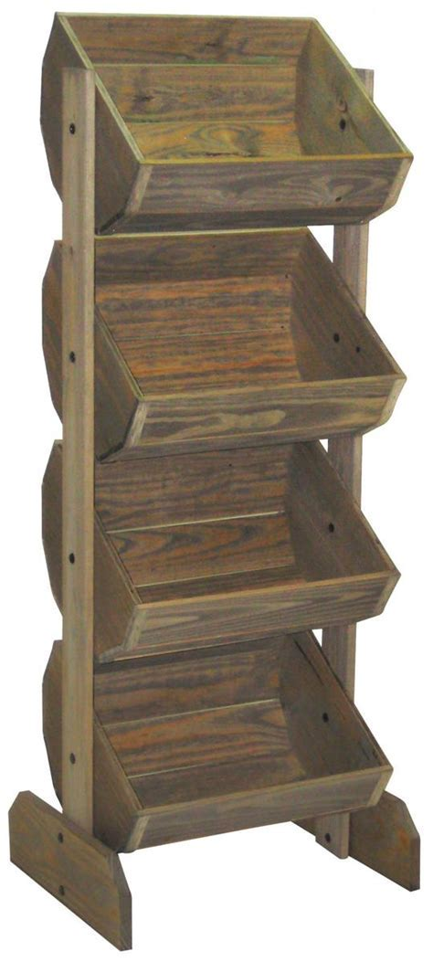 Rustic Crate Display   4 Angled Bins