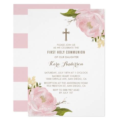 Watercolor Blush Pink Peonies First Holy Communion