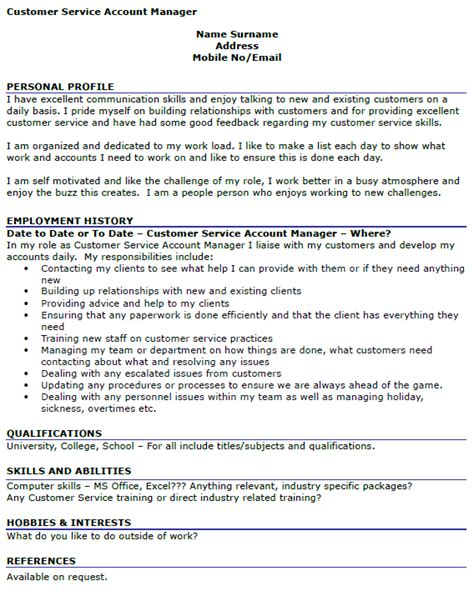 Customer Service Profile by Customer Service Account Manager Cv Exle Icover Org Uk