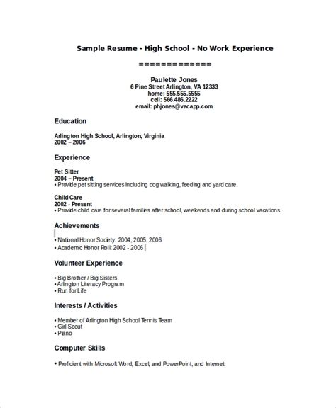 sample high school resume templates  ms word