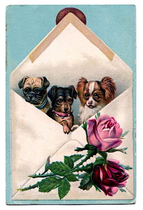vintage clip art  dogs   envelope  graphics fairy