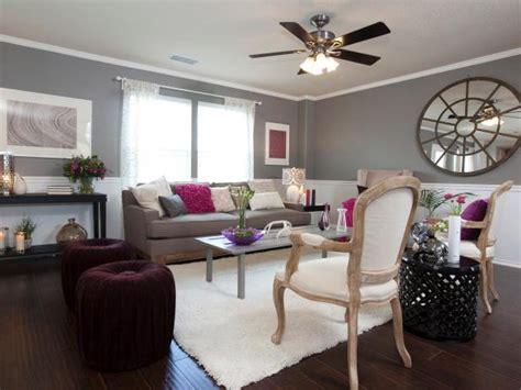 gray living room  fuschia accents hgtv
