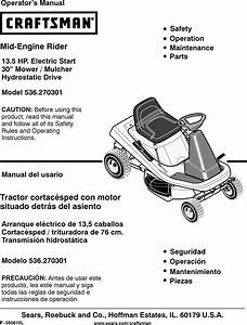 Craftsman 536270301 User Manual Rear Engine Lawn Mower