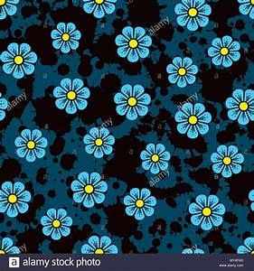 Flower pattern. Small blue flowers on a ink background ...