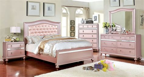 ariston rose gold youth upholstered panel bedroom set