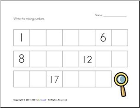 counting missing number 4 fill in the missing numbers from 1 20 kg1 ideas math