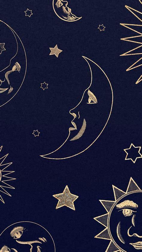 Gold celestial sun, moon and stars pattern on black ...