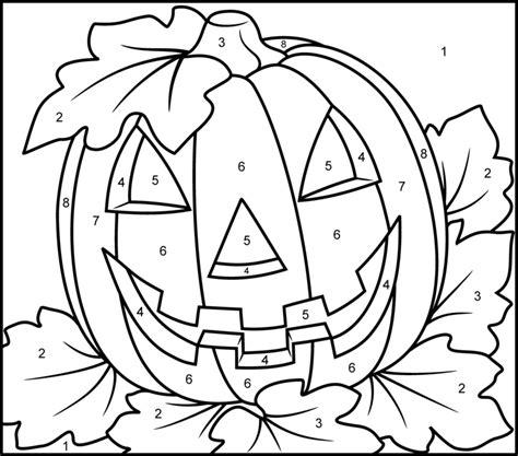 halloween pumpkin printable color  number page